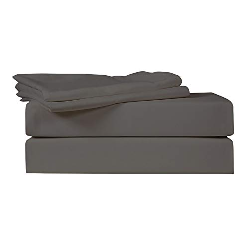 Just Linen 540 Thread Count 100% Egyptian Quality Cotton Sateen, Solid Bedding Sheet Set with Deep Pocketed Fitted Sheets Smoked Pearl 4 Piece ()