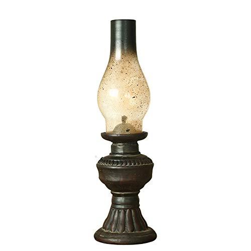 AOKARLIA Retro Lamparas de keroseno con Pantalla de Cristal Creativo Resina Artesania Decoracion hogarena Linterna Vendimia Luz de Noche Candelero (Vela no incluida),Large