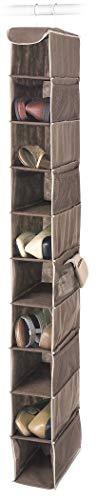 Whitmor Hanging Shoe Shelves - 10 Section - Closet Organizer - - Bag Shelf Storage 10 Shoe