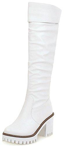 Knee White Boots Platform High (Summerwhisper Women's Trendy Plain Round Toe High Block Heel Platform Knee High Biker Boots White 6 B(M) US)
