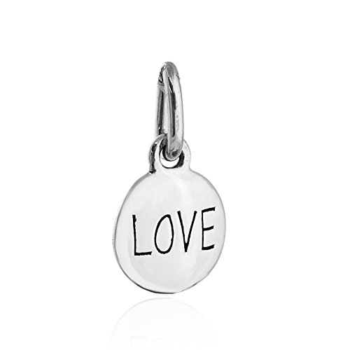 (Round Love Charm - 925 Sterling Silver Disk Circle Engraved Faith Hope - Jewelry Accessories Key Chain Bracelets Crafting Bracelet Necklace Pendants)