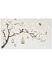 ورق حائط ثلاثي الأبعاد مطبوع عليه شجرة والطيور