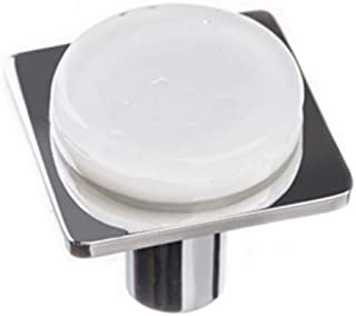 product image for Sietto M-1300-PC Geometric Square Glass knob with Metal Accent
