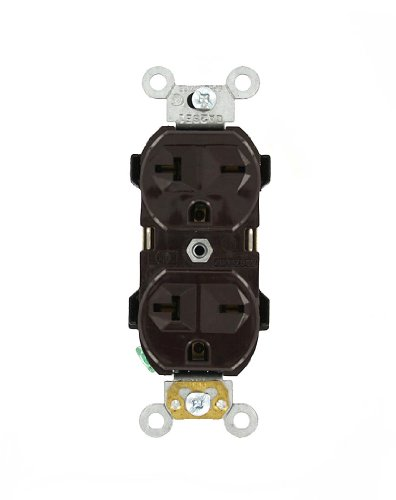 (Leviton 5824 20 Amp, 250 Volt, Narrow Body Duplex Receptacle, Straight Blade, Commercial Grade, Self Grounding, Brown)