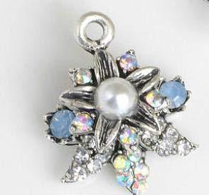 - Maslin 30pcs Pearl Rhinestone Button Charm Gunmetal Wedding Invitations Decorate Hair Flower Center Scrapbooking - (Color: B)
