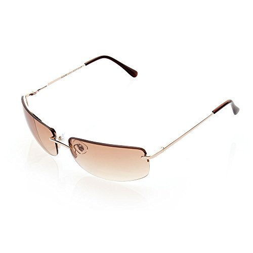NYS Collection Eyewear Astor Place Metal Sunglasses (Gold, Brown)