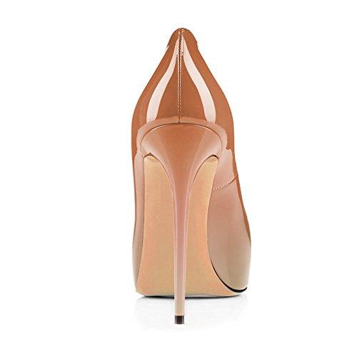 Fsj Women Graceful Peep Toe Pumps Tacchi Alti Con Plateau Slip On Party Prom Shoes Taglia 4-15 Us Natural-gradient