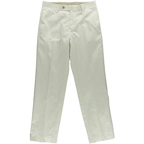 RALPH LAUREN Mens Classic Fit Solid White Flat Front Cotton Dress Pants 32X32
