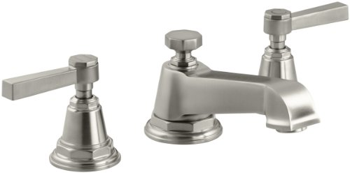 KOHLER K-13132-4A-BN Pinstripe Pure Widespread Lavatory Faucet, Vibrant Brushed Nickel - Bn Pinstripe Handles