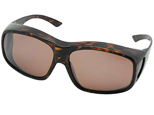 Shiny Glass Tortoise Amber (Style F19 Largest Polarized Fit Over Sunglasses With Sunglass Rage Pouch (Shiny Tortoise-Amber Lens, 2 3/4))