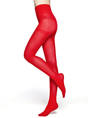 Women's 80 Den Microfiber Soft Opaque Tights (Red)