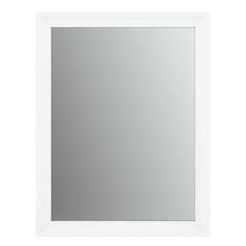 Delta Wall Mount 23 in. x 33 in. Small (S2) Rectangular Framed Flush Mounting Bathroom Mirror in Matte White with Standard Glass For Sale