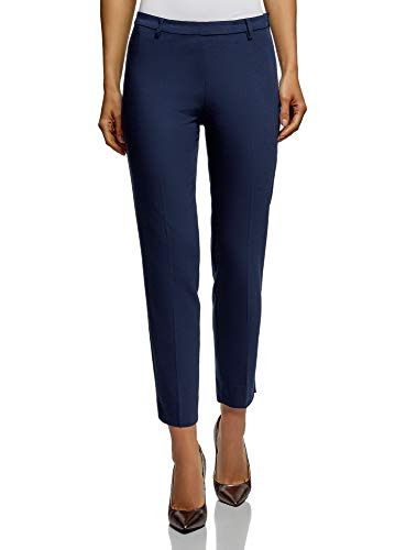 (oodji Collection Women's Slim-Fit Trousers with Side Zipper, Blue, 8)