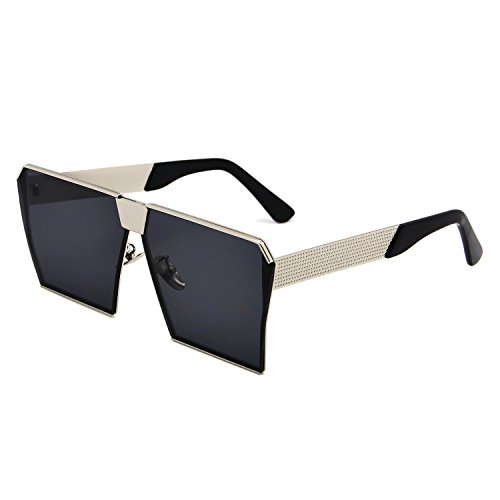 de gran reflectante las efecto sol Gafas tamaño para de Espejo plateado cuadrado amztm mujeres lente polarizada vawznOtq