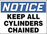 Accuform Signs® 10'' X 14'' Black, Blue And White 0.040'' Aluminum Cylinder And Compressed Gas Sign ''NOTICE KEEP ALL CYLINDERS CHAINED'' With Round Corner