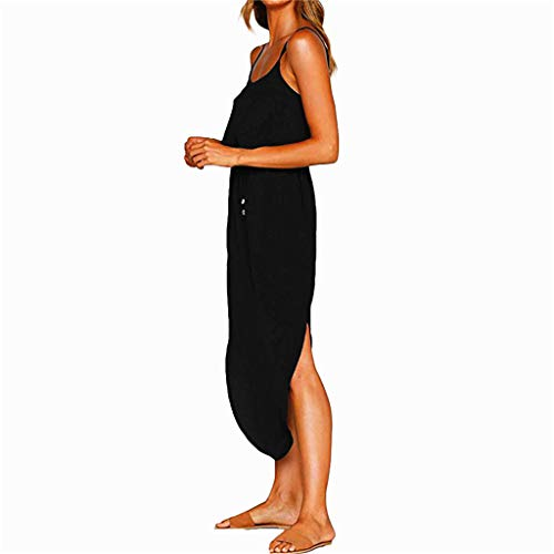 Dresses Women's Summer Casual Adjustable Strappy Solid Dress Sleeveless Side Split Beach Midi Sun Dress (Black, L) by miqiqism (Image #1)