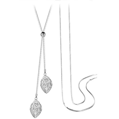 T400 White Golden Double Leaves Long Sweater Chain Pendant Necklace with Cubic Zirconia Birthday Gift for Women Girls -