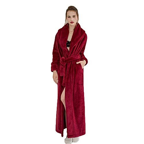 Longue Unisexe Spa Super Un Femme B pour Bleu Dormir Rouge Robe Marron Automne Hiver Nuit BfzPxnqO