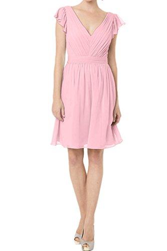 sposa A Donna Prom V di damigella vestito Rosa abito ressing scollo onore 44 festa line ivyd breve a Semplice sera d' abito wgA8xX0q