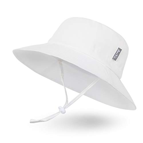 Ami&Li tots Adjustable Sunscreen Bucket Sun Protection Summer Hat for Baby Girl Boy Infant Kid Toddler Child UPF 50 Ivory White
