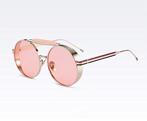 clásico sol Gafas UV400 Plata de de del que Rosa vidrios del conducen marco Keephen vintage Steampunk redondas los qFCvwxqp
