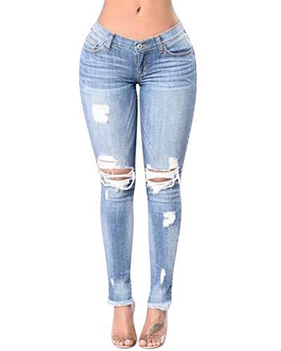 Vita Skinny Tratto Strappato Ragazza Buco Strappati Jeans Blau A Da Pantaloni lannister Matita Alta Casual Bucati Donna Qk qAwazRxP