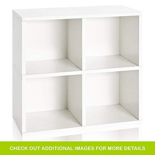 Way Basics WB-4CUBE-2-WE zBoard Eco Friendly 4 Cubby Bookcase, White ()