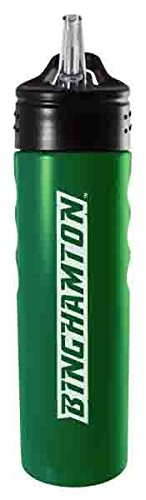 Binghamton University-24oz. Stainless Steel Grip Water Bottle with Straw-Green
