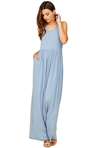 Dresses Long Tank Top Annabelle Sleeveless Blue Casual Maxi Racerback Women's Dusty w8ZxxBqU