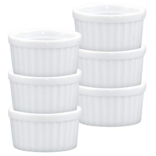 White Porcelain Sauce - HIC Ramekins, Fine White Porcelain, 2.5-Inch, 2-Ounce Capacity, Set of 6