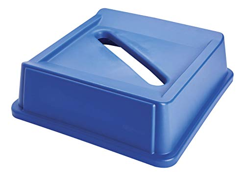 (Rubbermaid Commercial Products Untouchable Square Paper Recycling Lid for 35G & 50G Containers, Blue Recycling (FG279400DBLUE) )