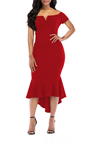 onlypuff Womens Off The Shoulder High Low Bodycon Mermaid Evening Party Midi Dress ... (Medium, S-Red)