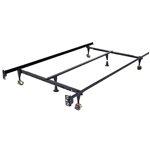 djustable Metal Bed Frame, Twin/Full / Queen, Black ()