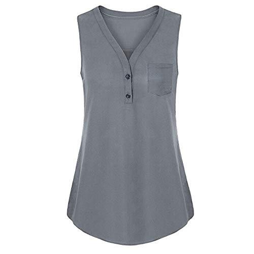 Plus Novità Top allentato Cami Solid a V Grey Tank con Vest Bluse scollo Women Womens Momoxi Sexy Summer wHZqUfaf