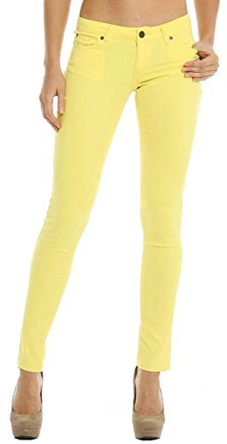 - Masoi 1826 Color Series Junior's Women's Skinny Jeans Stretch Pants (1, Yellow)