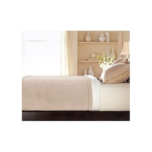 Image of Sunbeam Luxurious Velvet Plush King Heated Blanket with 20 Heat Settings, Auto-Off, 2-Digital Controllers, 5 Yr Warranty - Beige Home and Kitchen