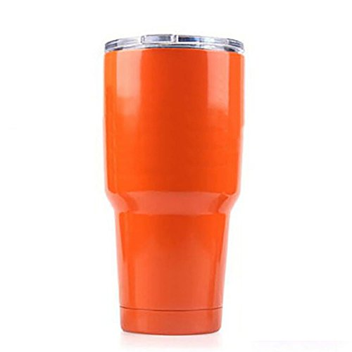 Aspire 30 Oz. Double Walled Insulated Travel Cup with Resistant Lid, Stainless Steel Tumbler, No Leak, Keep Cold or Hot for Hours-Orange