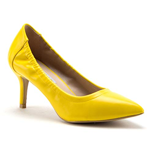 (Women's Cherry Classic Slip On Pointy Toe Exotic Bright Heels Pumps Dress Shoes, Yellow, 10)