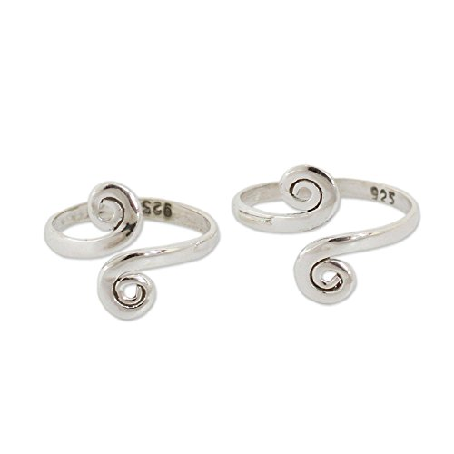 NOVICA Polished .925 Sterling Silver Spiral Adjustable Toe Rings 'Luminosity' (Pair, One Size) ()
