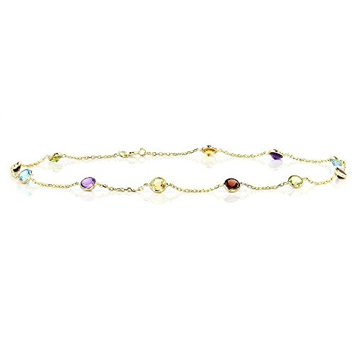 14k Yellow Gold Handmade Station Anklet with Round 4mm Gemstones by amazinite
