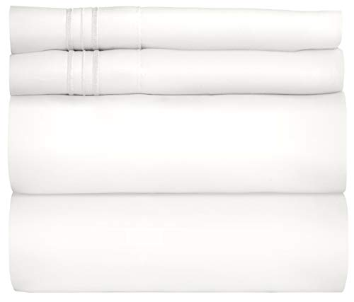 Twin Size Sheet Set - 4 Piece Set - Hotel Luxury Bed Sheets - Extra Soft - Deep Pockets - Easy Fit - Breathable & Cooling Sheets - Wrinkle Free - Comfy - White Bed Sheets - Twins Sheets - 4 PC