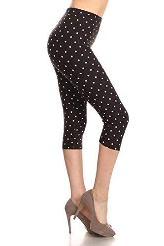 NioBe Women's Plus Size Fashion Design Capri Crop Leggings (One Size, Black White Polka (White Polka Dot Capri)