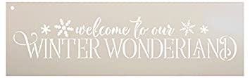 Welcome To Our Winter Wonderland Stencil by StudioR12   Festive Winter Word Art - Reusable Mylar Template   Painting, Chalk, Mixed Media   Use for Crafting, DIY Home Decor - STCL1543 (13 x 4) Studio R 12