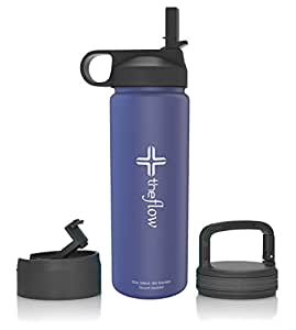 the flow Stainless Steel Water Bottle Double Walled/Vacuum Insulated - BPA/Toxin Free – Wide Mouth with Straw Lid, Carabiner Lid and Flip Lid, 32 oz.(1 Liter) (Blue, 18oz)