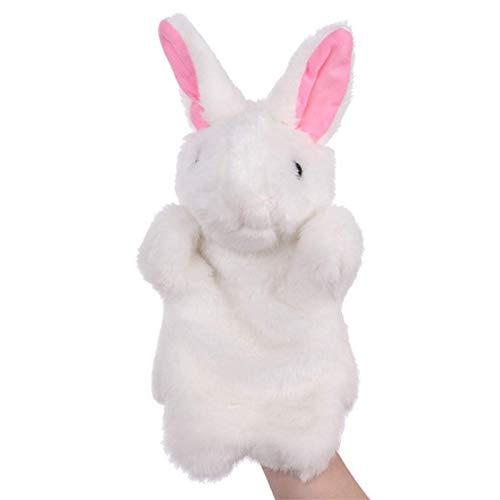 SweetGifts Bunny Hand Puppets Plush Animal Toys for Imaginative Pretend Play Stocking Storytelling White