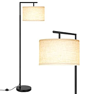 LED Floor Lamp, Montage Modern Floor Lamp, Classic Standing Lamp Reading Standing Light with Hanging Lamp Shade Minimalist Bedside Floor Lamp for Bedroom Living Room with LED Bulb - Black