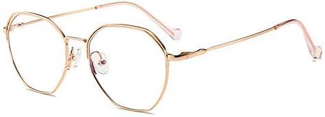 LIUYALE Blau lichtundurchlässige Brille, Schutz der Augen Leicht stark und robust Unisex Jahrgang Polygonal-Glas-Rahmen Brillenfassungen (Color : Rose Gold)