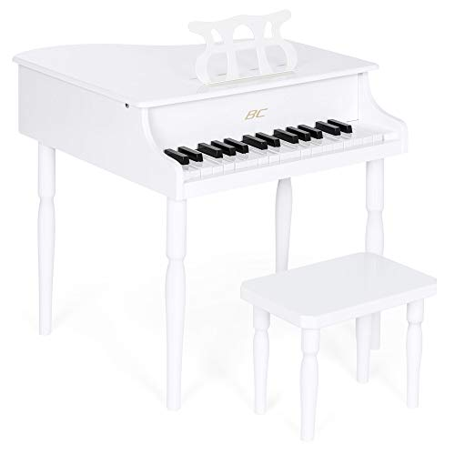 (Best Choice Products Kids Classic Wood 30-Key Mini Baby Grand Piano Musical Instrument Toy w/ Bench, Sheet Music Stand- White )