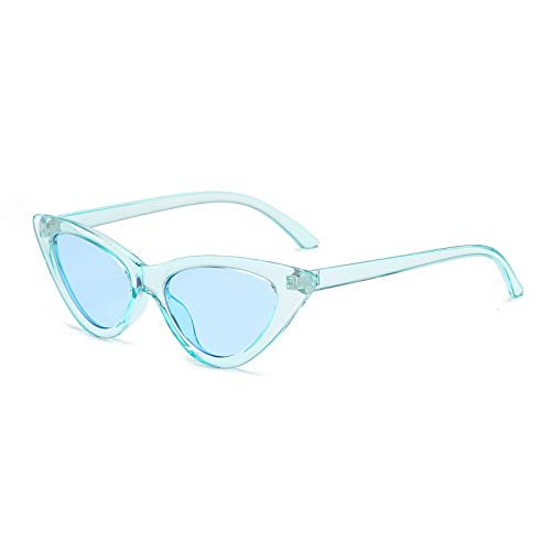 YOSHYA Retro Vintage Narrow Cat Eye Sunglasses for Women Clout Goggles Plastic Frame (Clear Blue/Blue)