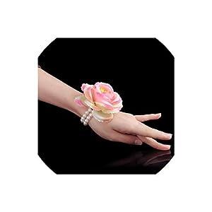 alerghrg Wedding Prom Corsage Bride Wrist Corsages Flower Pearl Bracelet Handmade Wrist Flower Bridesmaid Hand Flowers,004 58